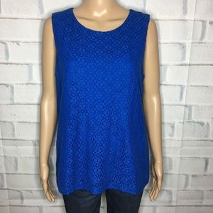 Talbots Royal Blue Tank Top Lace Flower Detail